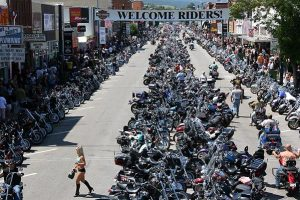 Bikers line the streets of down town Sturgis